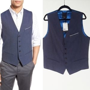 Ted Baker Blue Diamond Print Vest XL NWT
